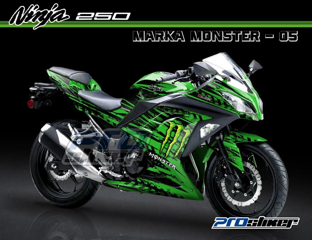 gambar modif ninja 250 fi hijau motif marka monster hijau stiker