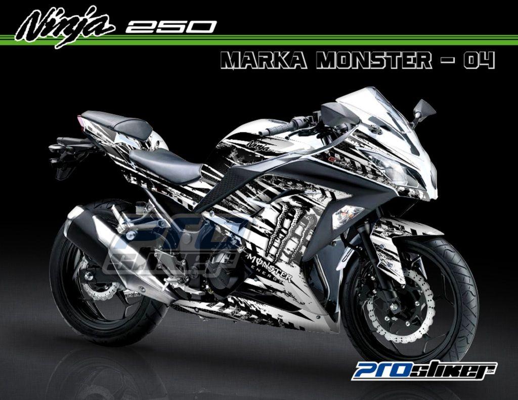 gambar modif ninja 250 fi putih motif marka monster putih stiker