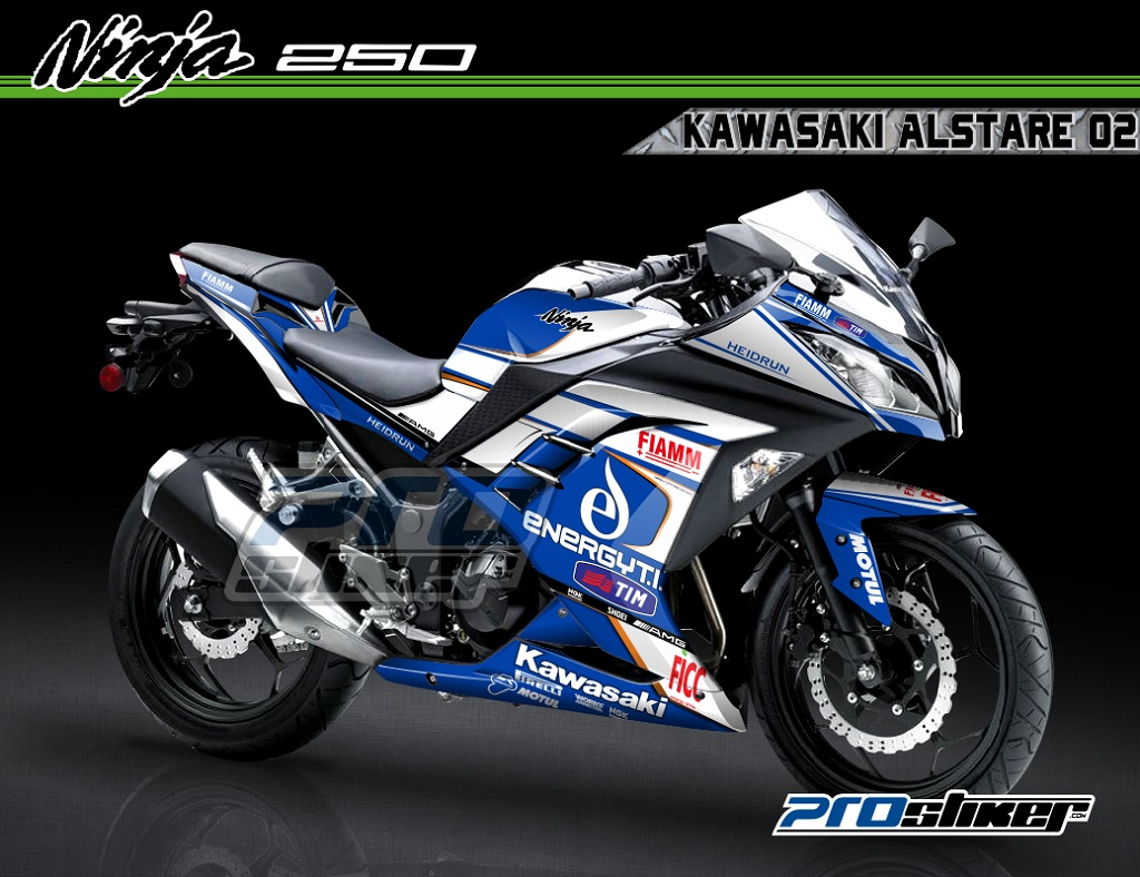 Modif Ninja 250 FI Warna Hitam Motif Kawasaki Alstare Moto
