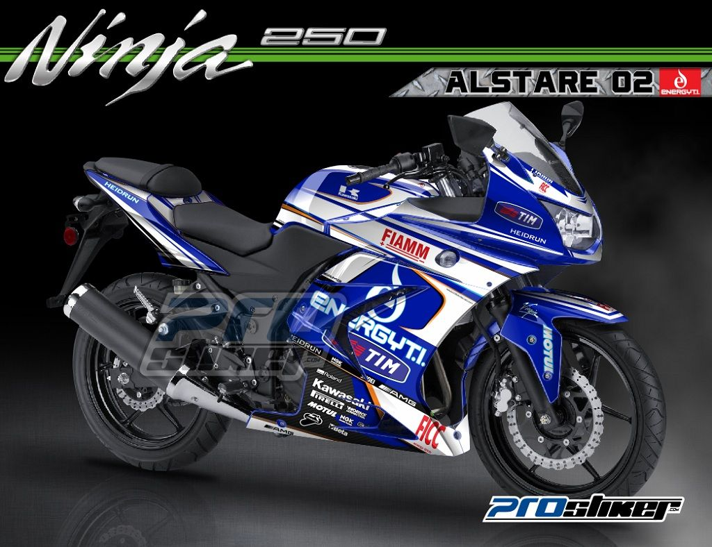 Modifikasi Ninja 250 Karbu Warna Biru Striping Motif