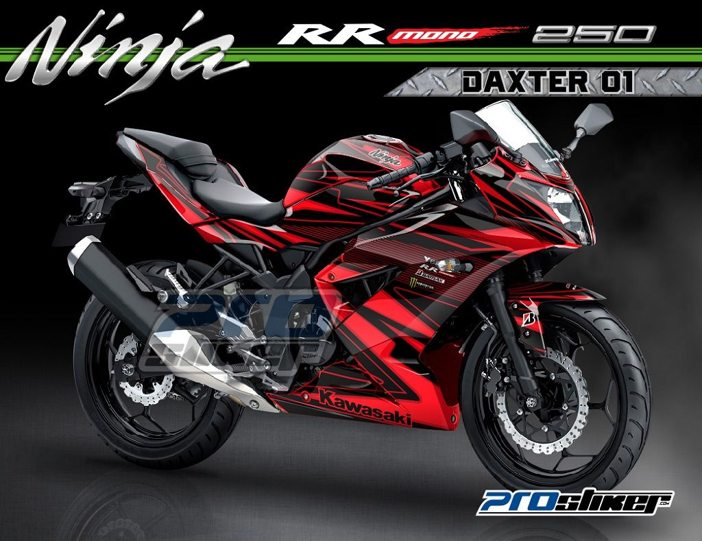 kawasaki ninja rr mono 250cc warna merah striping motor motif