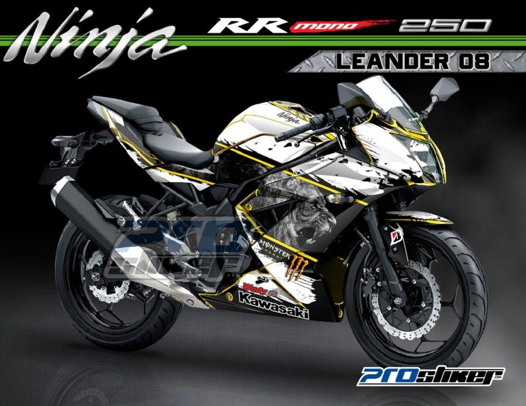 modifikasi kawasaki ninja rr mono 250cc warna kuning striping